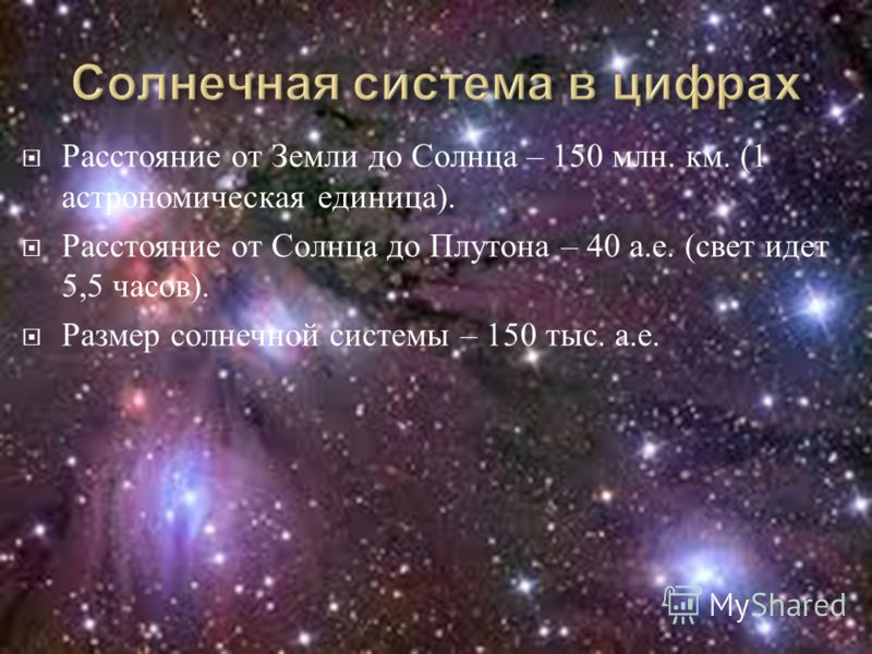 Расстояние от Земли до Солнца – 150 млн. км. (1 астрономическая единица ). Расстояние от Солнца до Плутона – 40 а. е. ( свет идет 5,5 часов ). Размер солнечной системы – 150 тыс. а. е.