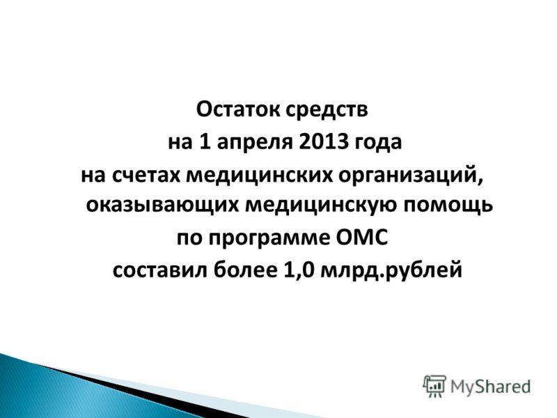 Остаток средств на 1 апреля 2013 года на счетах медицинских организаций, оказывающих медицинскую помощь по программе ОМС составил более 1,0 млрд.рублей