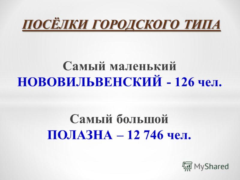 ПОСЁЛКИ ГОРОДСКОГО ТИПА Самый большой ПОЛАЗНА – 12 746 чел. Самый маленький НОВОВИЛЬВЕНСКИЙ - 126 чел.