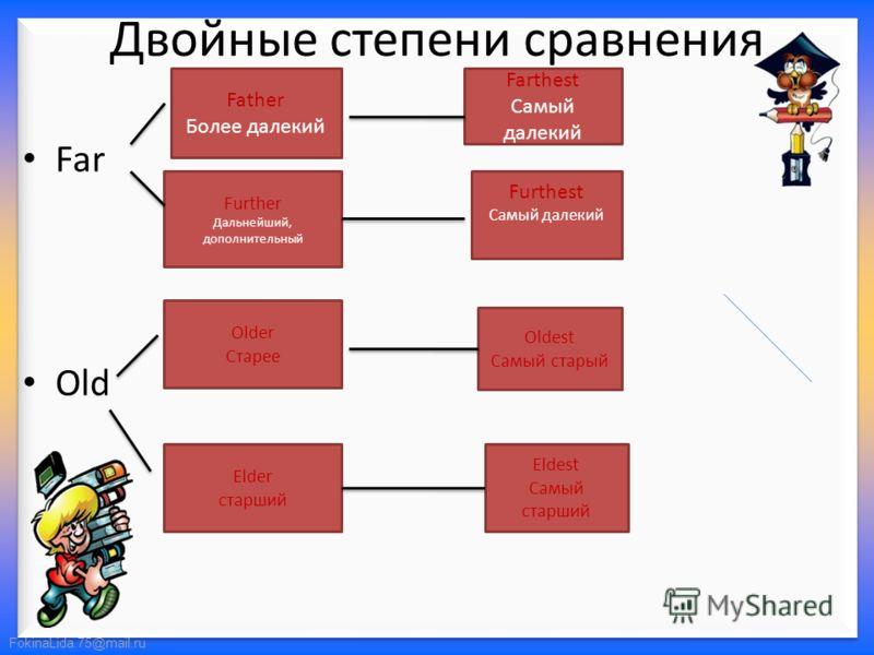 FokinaLida.75@mail.ru Двойные степени сравнения Far Old Father Более далекий Further Дальнейший, дополнительный Farthest Самый далекий Furthest Самый далекий Older Старее Oldest Самый старый Elder старший Eldest Самый старший