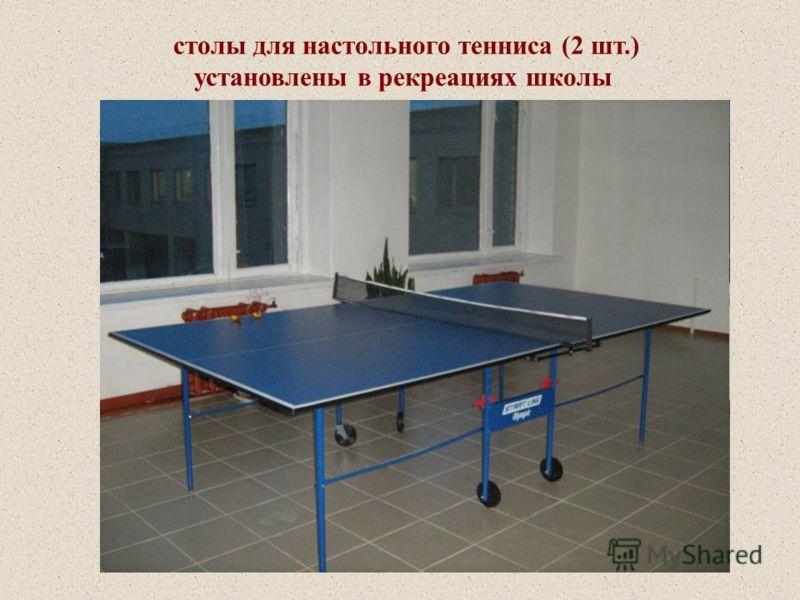 столы для настольного тенниса (2 шт.) установлены в рекреациях школы
