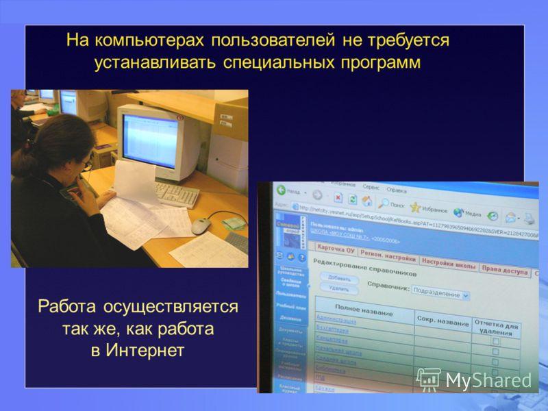 На компьютерах пользователей не требуется устанавливать специальных программ Работа осуществляется так же, как работа в Интернет