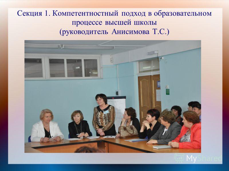 Секция 1. Компетентностный подход в образовательном процессе высшей школы (руководитель Анисимова Т.С.)