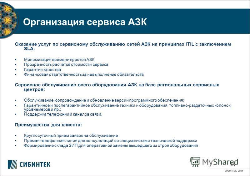 Организация сервиса АЗК Оказание услуг по сервисному обслуживанию сетей АЗК на принципах ITIL с заключением SLA: Минимизация времени простоя АЗК Прозрачность расчетов стоимости сервиса Гарантии качества Финансовая ответственность за невыполнение обяз