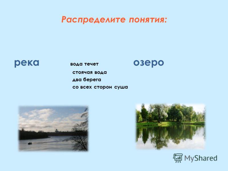 Распределите понятия: река вода течет озеро стоячая вода два берега со всех сторон суша