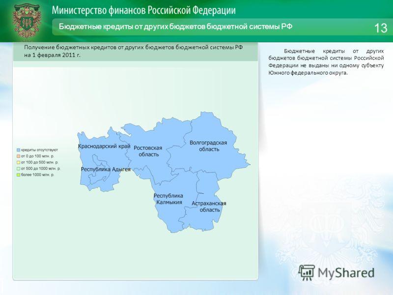 Бюджетные кредиты от других бюджетов бюджетной системы РФ Бюджетные кредиты от других бюджетов бюджетной системы Российской Федерации не выданы ни одному субъекту Южного федерального округа. 13 Получение бюджетных кредитов от других бюджетов бюджетно