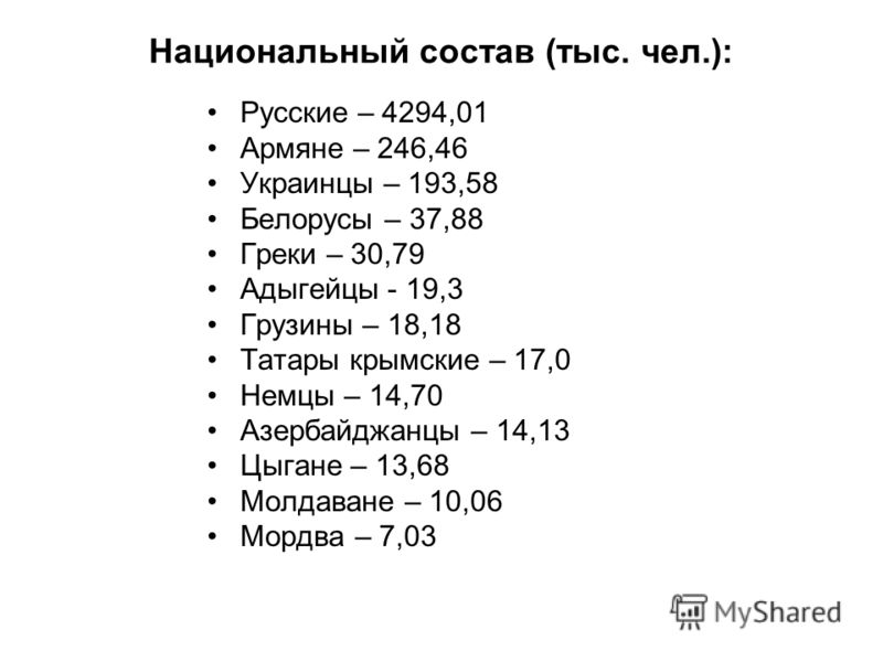 Национальный состав (тыс. чел.): Русские – 4294,01 Армяне – 246,46 Украинцы – 193,58 Белорусы – 37,88 Греки – 30,79 Адыгейцы - 19,3 Грузины – 18,18 Татары крымские – 17,0 Немцы – 14,70 Азербайджанцы – 14,13 Цыгане – 13,68 Молдаване – 10,06 Мордва – 7