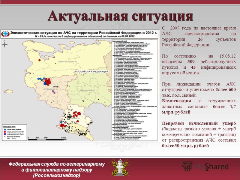 Федеральная служба по ветеринарному и фитосанитарному надзору (Россельхознадзор) 2 Актуальная ситуация С 2007 года по настоящее время АЧС зарегистрирована на территории 26 субъектов Российской Федерации. По состоянию на 15.08.12 выявлены 309 неблагоп