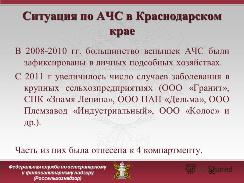 Федеральная служба по ветеринарному и фитосанитарному надзору (Россельхознадзор) 30 Ситуация по АЧС в Краснодарском крае В 2008-2010 гг. большинство вспышек АЧС были зафиксированы в личных подсобных хозяйствах. С 2011 г увеличилось число случаев забо