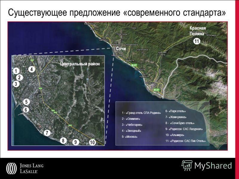 Существующее предложение «современного стандарта» 8 2 1 3 9 5 7 4 10 6 1 - «Гранд отель СПА Родина» 2 - «Олимпия» 3 - «Чеботарев» 4 - «Звездный» 5- «Москва» 6- «Парк отель» 7- «Жемчужина» 8 - «Сочи Бриз отель» 9- «Рэдиссон САС Лазурная» 10- «Альмира»