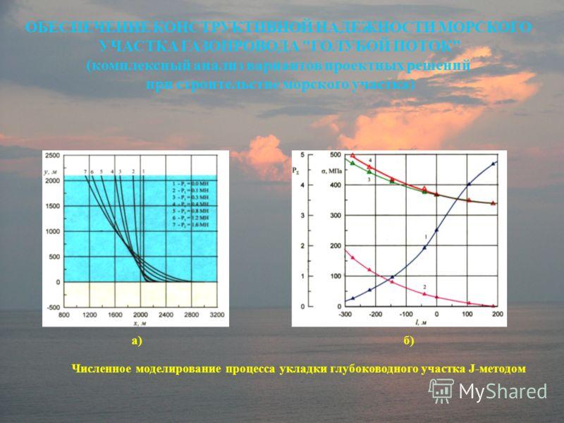 ОБЕСПЕЧЕНИЕ КОНСТРУКТИВНОЙ НАДЕЖНОСТИ МОРСКОГО УЧАСТКА ГАЗОПРОВОДА ГОЛУБОЙ ПОТОК (комплексный анализ вариантов проектных решений при строительстве морского участка) Численное моделирование процесса укладки глубоководного участка J-методом а)б)