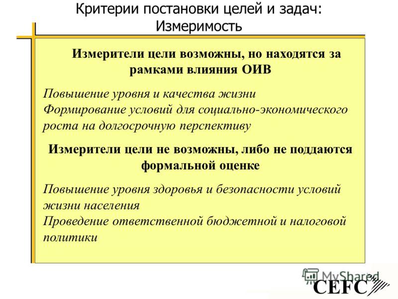 CEFC Критерии постановки целей и задач: Измеримость Измерители цели возможны, но находятся за рамками влияния ОИВ Повышение уровня и качества жизни Формирование условий для социально-экономического роста на долгосрочную перспективу Измерители цели не