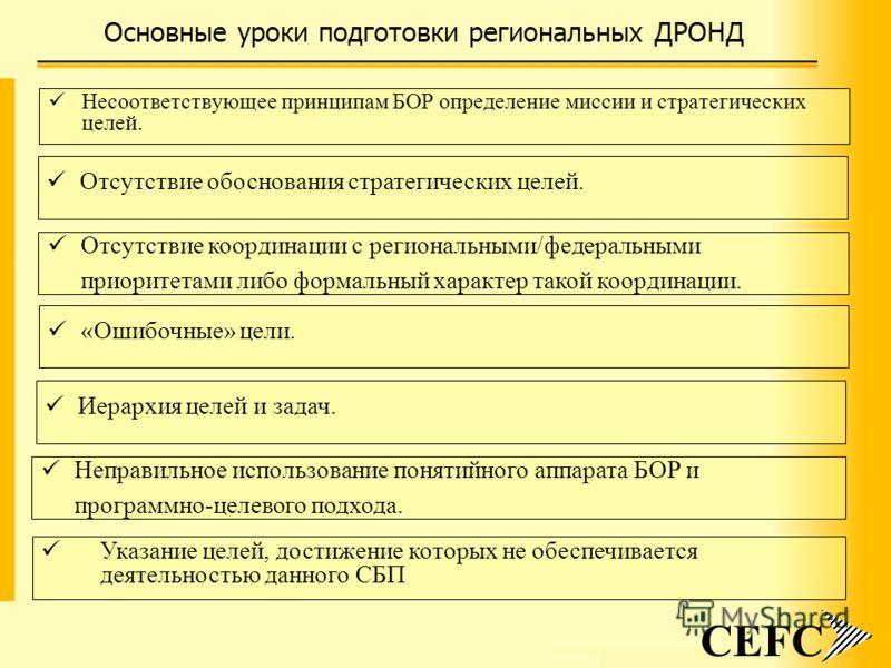 Основные уроки подготовки региональных ДРОНД CEFC Несоответствующее принципам БОР определение миссии и стратегических целей. Отсутствие обоснования стратегических целей. Отсутствие координации с региональными/федеральными приоритетами либо формальный