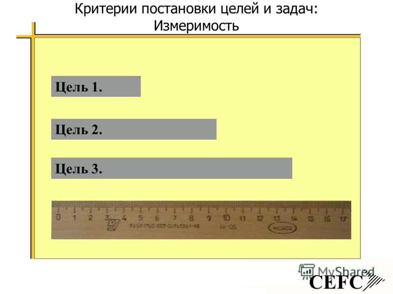 CEFC Критерии постановки целей и задач: Измеримость Цель 3. Цель 2. Цель 1.