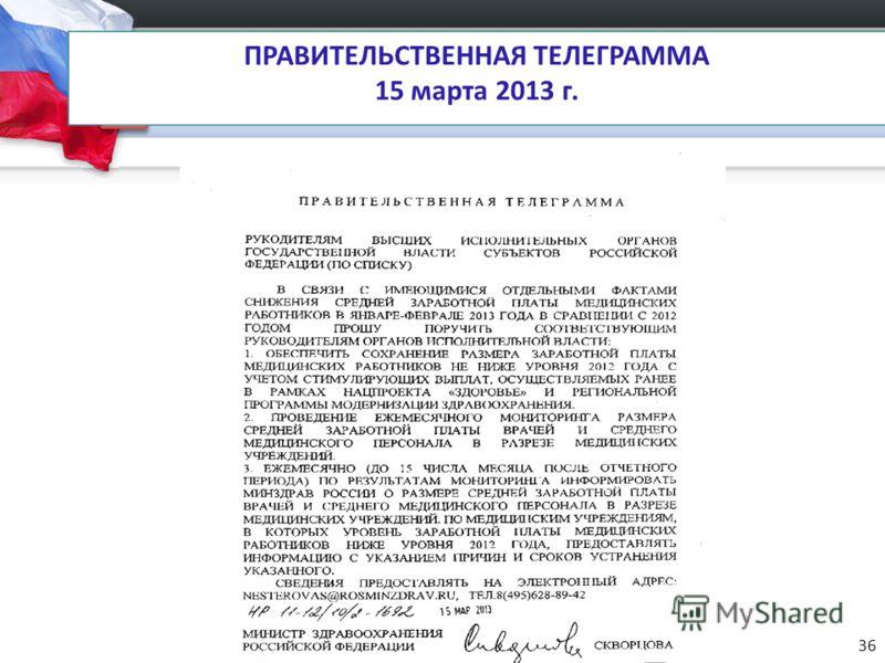 ПРАВИТЕЛЬСТВЕННАЯ ТЕЛЕГРАММА 15 марта 2013 г. 36