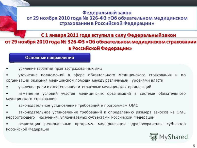 С 1 января 2011 года вступил в силу Федеральный закон от 29 ноября 2010 года 326-ФЗ «Об обязательном медицинском страховании в Российской Федерации» С 1 января 2011 года вступил в силу Федеральный закон от 29 ноября 2010 года 326-ФЗ «Об обязательном