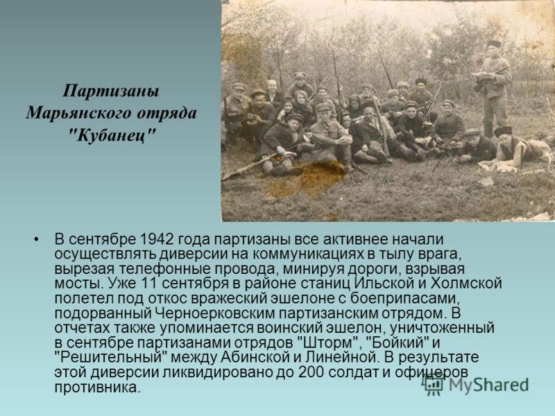 Партизаны Марьянского отряда