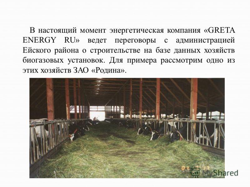 В настоящий момент энергетическая компания «GRETA ENERGY RU» ведет переговоры с администрацией Ейского района о строительстве на базе данных хозяйств биогазовых установок. Для примера рассмотрим одно из этих хозяйств ЗАО «Родина».