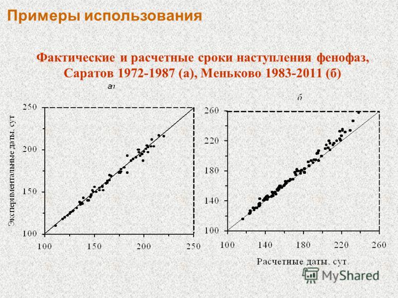Фактические и расчетные сроки наступления фенофаз, Саратов 1972-1987 (а), Меньково 1983-2011 (б) Примеры использования