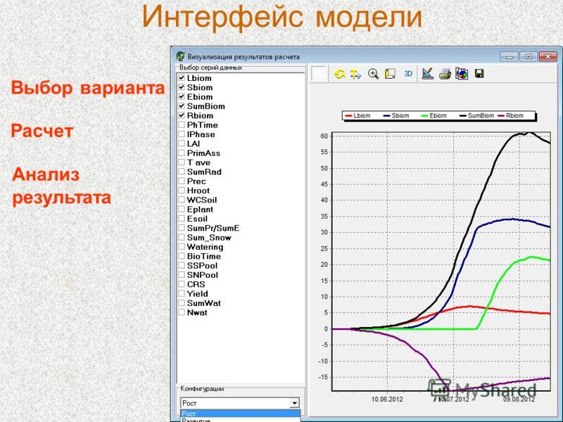 Интерфейс модели Выбор варианта Расчет Анализ результата