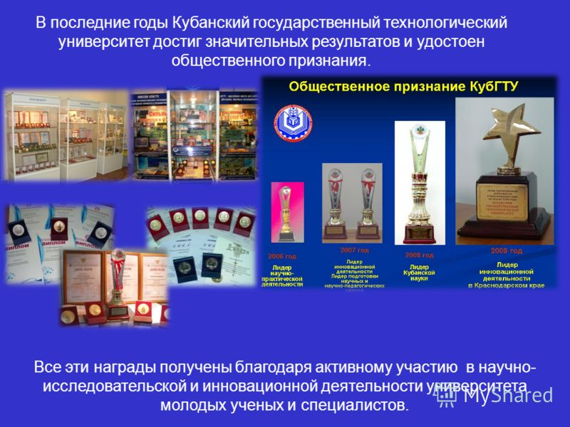 В последние годы Кубанский государственный технологический университет достиг значительных результатов и удостоен общественного признания. Все эти награды получены благодаря активному участию в научно- исследовательской и инновационной деятельности у