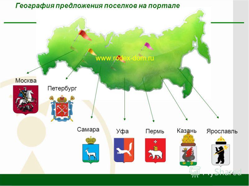 14 www.rodex-dom.ru Уфа Самара Ярославль Казань Пермь Москва Петербург География предложения поселков на портале