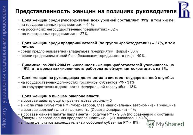 Представленность женщин на позициях руководителя Доля женщин среди руководителей всех уровней составляет 39%, в том числе: - на государственных предприятиях – 44% - на российских негосударственных предприятиях - 32% -на иностранных предприятиях – 27%