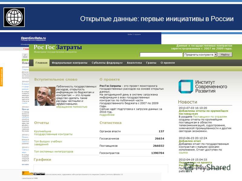 Открытые данные: первые инициативы в России
