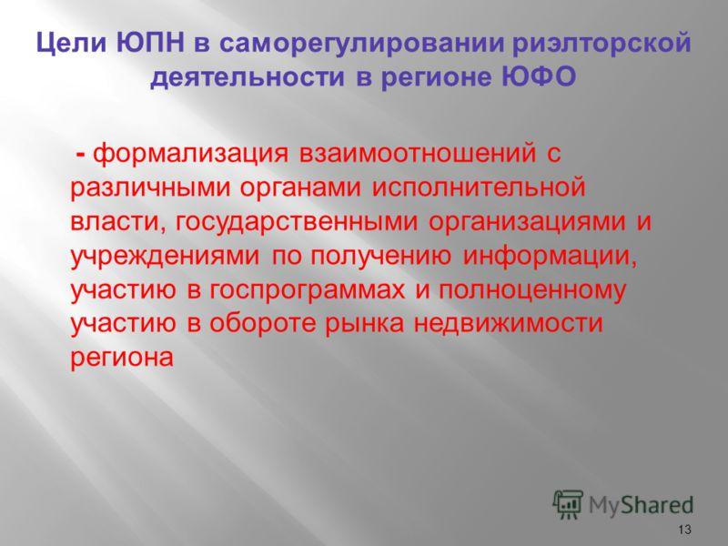 13 Цели ЮПН в саморегулировании риэлторской деятельности в регионе ЮФО - формализация взаимоотношений с различными органами исполнительной власти, государственными организациями и учреждениями по получению информации, участию в госпрограммах и полноц