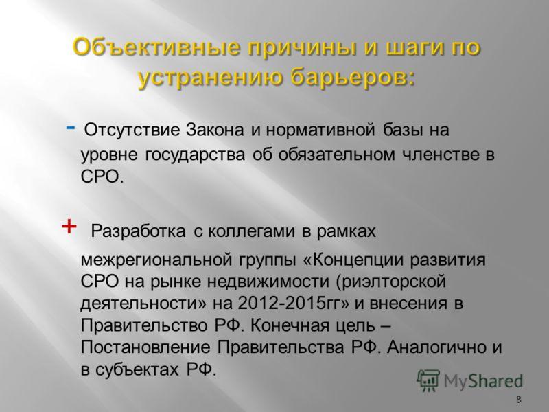 8 - Отсутствие Закона и нормативной базы на уровне государства об обязательном членстве в СРО. + Разработка с коллегами в рамках межрегиональной группы «Концепции развития СРО на рынке недвижимости (риэлторской деятельности» на 2012-2015гг» и внесени