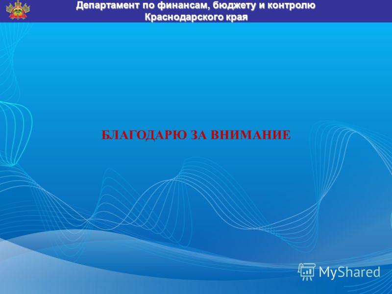 БЛАГОДАРЮ ЗА ВНИМАНИЕ Департамент по финансам, бюджету и контролю Краснодарского края