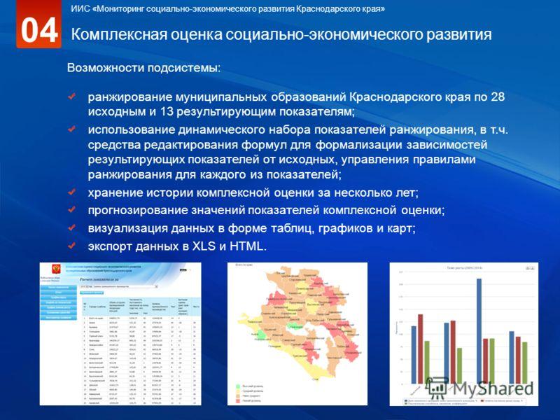 Комплексная оценка социально-экономического развития Возможности подсистемы: ранжирование муниципальных образований Краснодарского края по 28 исходным и 13 результирующим показателям; использование динамического набора показателей ранжирования, в т.ч