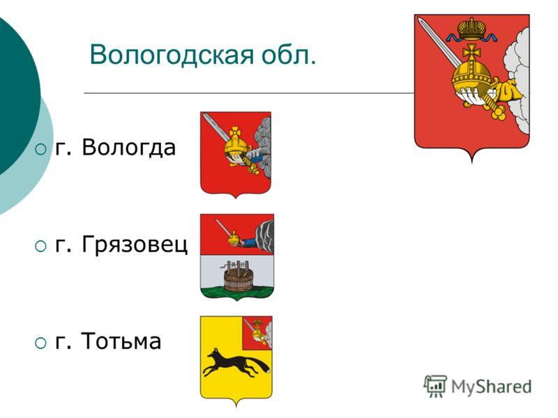 Вологодская обл. г. Вологда г. Грязовец г. Тотьма