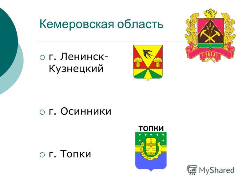 Кемеровская область г. Ленинск- Кузнецкий г. Осинники г. Топки