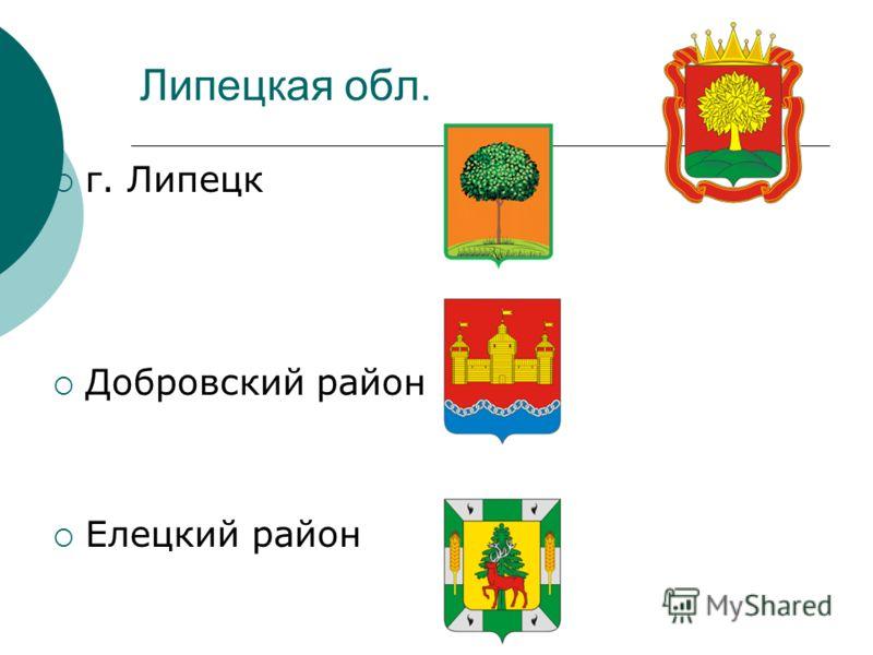 Липецкая обл. г. Липецк Добровский район Елецкий район
