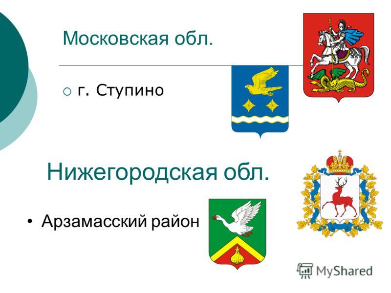Московская обл. г. Ступино Нижегородская обл. Арзамасский район