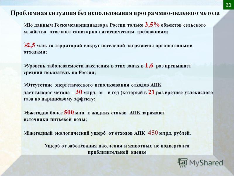 По данным Госкомсанэпиднадзора России только 3,5% объектов сельского хозяйства отвечают санитарно-гигиеническим требованиям; 2,5 млн. га территорий вокруг поселений загрязнены органогенными отходами; Уровень заболеваемости населения в этих зонах в 1,