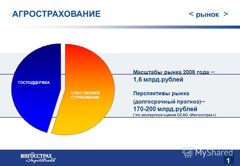 2 АГРОСТРАХОВАНИЕ ГОСПОДДЕРЖКА СОБСТВЕННОЕ СТРАХОВАНИЕ Масштабы рынка 2009 года – 1,6 млрд.рублей Перспективы рынка (долгосрочный прогноз) – 170-200 млрд.рублей (*по экспертной оценке ОСАО «Ингосстрах») 1