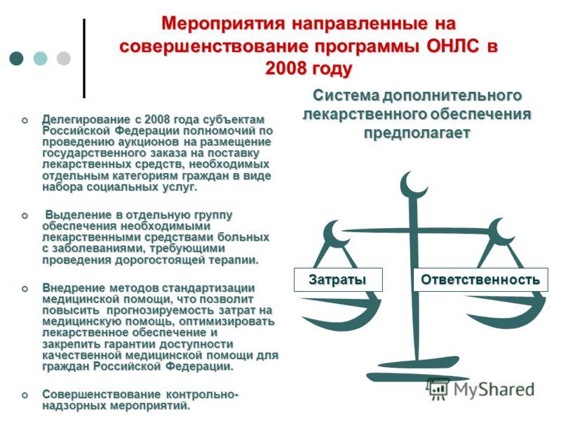 Мероприятия направленные на совершенствование программы ОНЛС в 2008 году Делегирование с 2008 года субъектам Российской Федерации полномочий по проведению аукционов на размещение государственного заказа на поставку лекарственных средств, необходимых