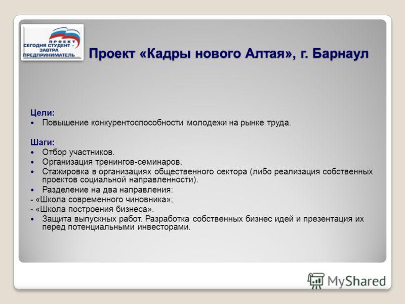 Проект «Кадры нового Алтая», г. Барнаул Цели: Повышение конкурентоспособности молодежи на рынке труда. Шаги: Отбор участников. Организация тренингов-семинаров. Стажировка в организациях общественного сектора (либо реализация собственных проектов соци