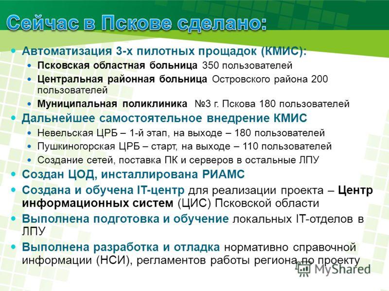 Автоматизация 3-х пилотных прощадок (КМИС): Псковская областная больница 350 пользователей Центральная районная больница Островского района 200 пользователей Муниципальная поликлиника 3 г. Пскова 180 пользователей Дальнейшее самостоятельное внедрение