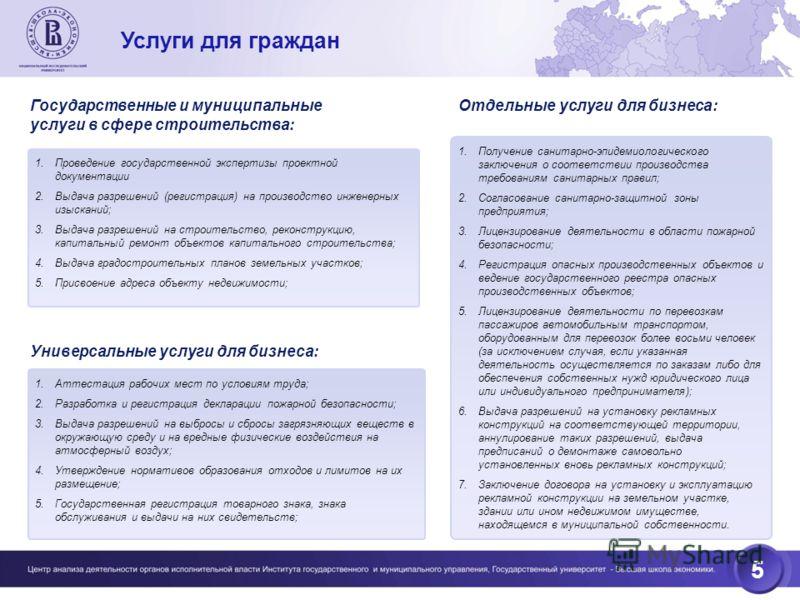 5 Услуги для граждан 1.Проведение государственной экспертизы проектной документации 2.Выдача разрешений (регистрация) на производство инженерных изысканий; 3.Выдача разрешений на строительство, реконструкцию, капитальный ремонт объектов капитального