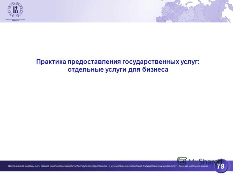 79 Практика предоставления государственных услуг: отдельные услуги для бизнеса