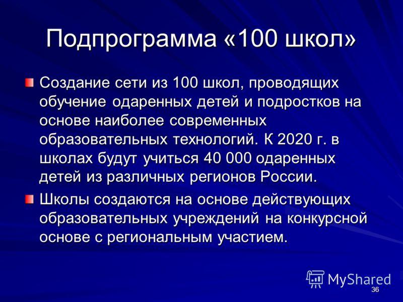 36 Подпрограмма «100 школ» Создание сети из 100 школ, проводящих обучение одаренных детей и подростков на основе наиболее современных образовательных технологий. К 2020 г. в школах будут учиться 40 000 одаренных детей из различных регионов России. Шк