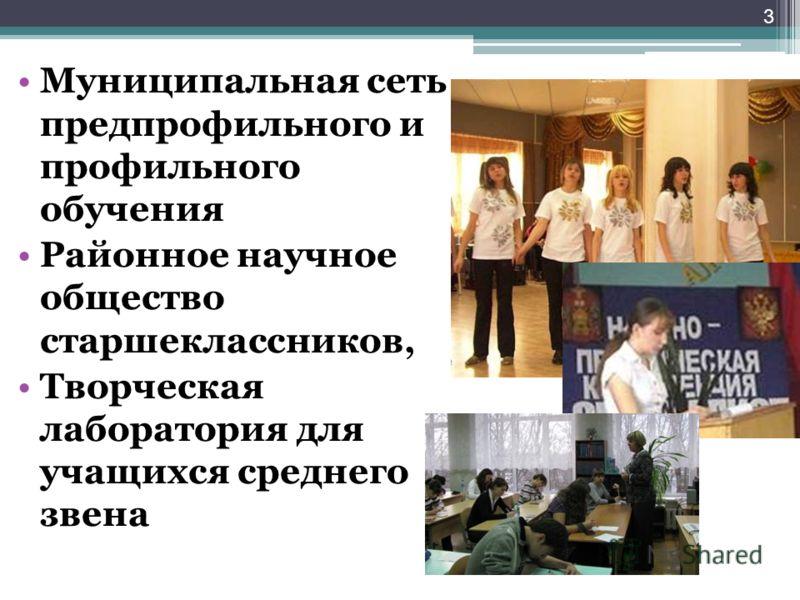 3 Муниципальная сеть предпрофильного и профильного обучения Районное научное общество старшеклассников, Творческая лаборатория для учащихся среднего звена