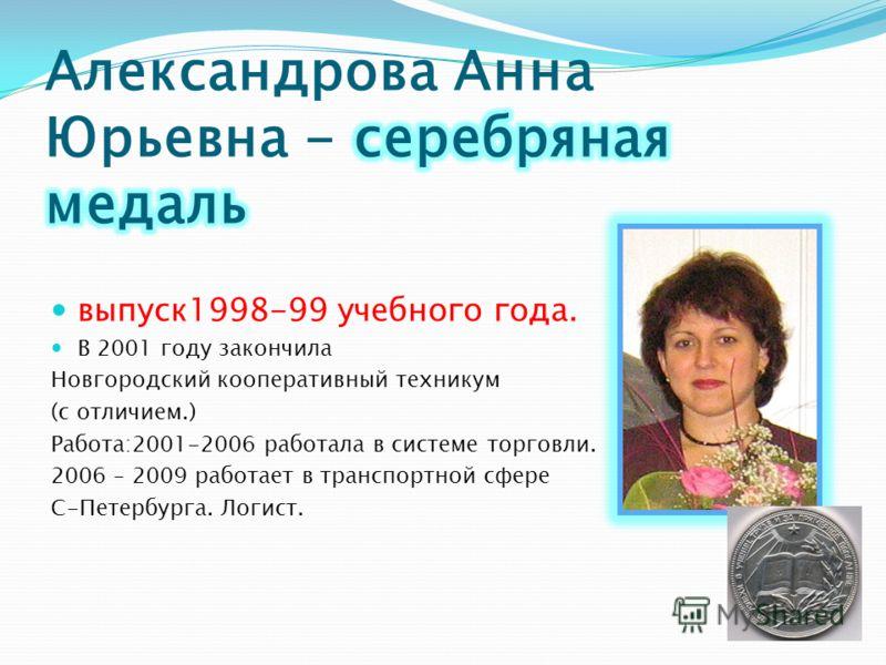выпуск1998-99 учебного года. В 2001 году закончила Новгородский кооперативный техникум (с отличием.) Работа:2001-2006 работала в системе торговли. 2006 – 2009 работает в транспортной сфере С-Петербурга. Логист.