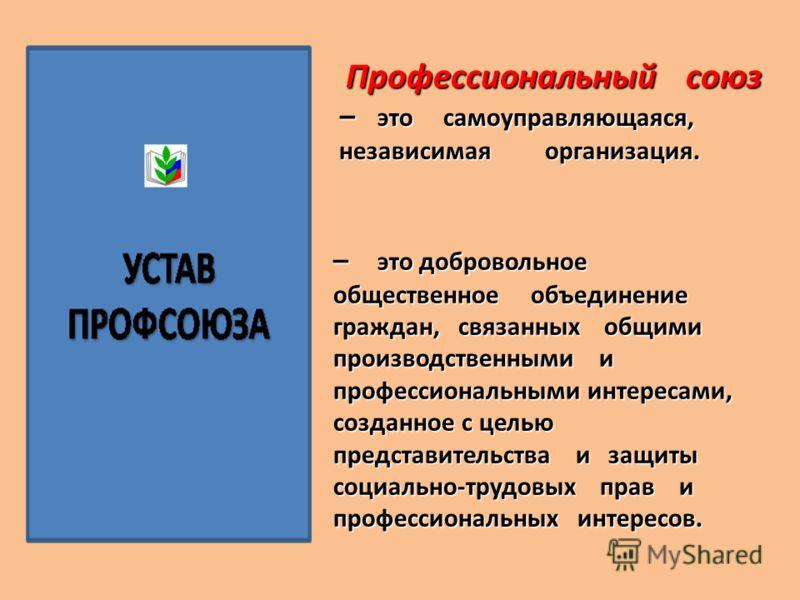 Профессиональный союз Профессиональный союз – это самоуправляющаяся, – это самоуправляющаяся, независимая организация. независимая организация. – это добровольное общественное объединение граждан, связанных общими производственными и профессиональным