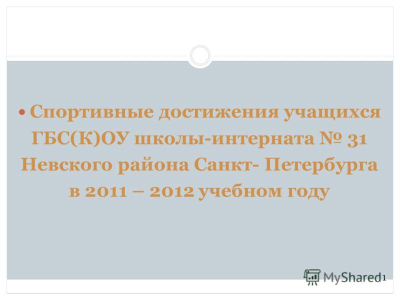 Спортивные достижения учащихся ГБС(К)ОУ школы-интерната 31 Невского района Санкт- Петербурга в 2011 – 2012 учебном году 1