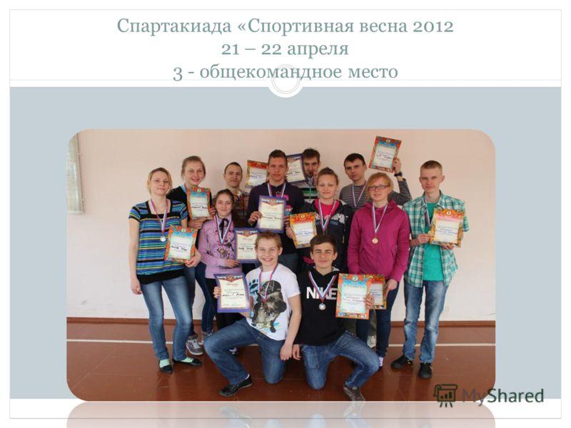 Спартакиада «Спортивная весна 2012 21 – 22 апреля 3 - общекомандное место