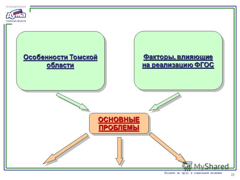 20 Комитет по труду и социальной политике Особенности Томской области Факторы, влияющие на реализацию ФГОС ОСНОВНЫЕ ПРОБЛЕМЫ